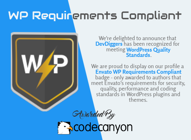DevDiggers WP Requirements Compliant Badge